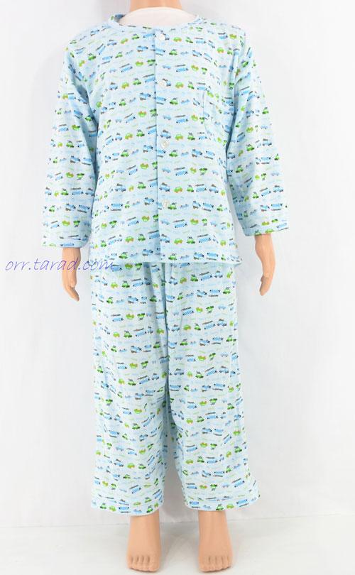 ชุดนอนเด็กชาย ไซส์ 2-3 แขนยาวขายาว ผ้ายืด (แบบคอกลม กระดุมผ่าหน้า)  คลิกดูรายละเอียดเพิ่มเติม