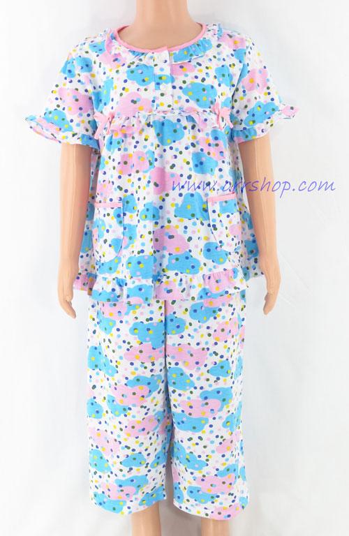ชุดนอนเด็กหญิง ไซส์ 2-3 แขนสั้น ขายาว ผ้ายืด (แบบโบว์อก กระดุม 2 เม็ด) คลิกดูรายละเอียดเพิ่มเติม