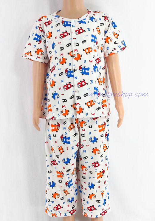 ชุดนอนเด็กชาย ไซส์ 2-3 แขนสั้น ขายาว ผ้ายืด (แบบคอกลม กระดุมผ่าหน้า) คลิกดูรายละเอียดเพิ่มเติม
