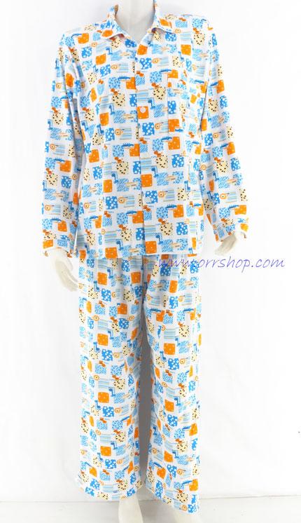 ชุดนอนผู้ใหญ่ ไซส์ฟรีไซส์ แขนยาว ขายาว ผ้ายืด (แบบคอปก กระดุมผ่าหน้า) คลิกดูรายละเอียดเพิ่มเติม