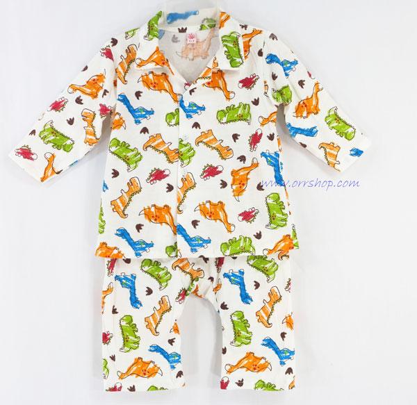 ชุดนอนเด็ก ไซส์เด็กจิ๋ว (6 M)  แขนยาว ขายาว ผ้ายืด (แบบคอปก กระดุมผ่าหน้า) คลิกดูรายละเอียดเพิ่มเติม