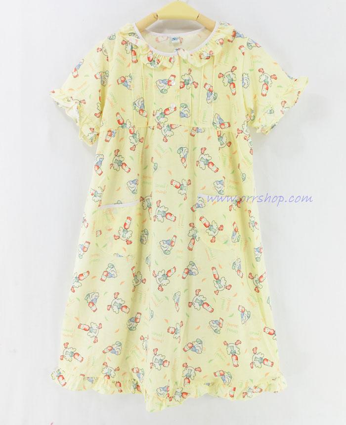 ชุดนอนเด็กหญิง ไซส์ 7-9 ชุดกระโปรงแขนสั้น ผ้ายืด (แบบคอระบาย กระดุม 3 เม็ด) คลิกดูรายละเอียดเพิ่ม