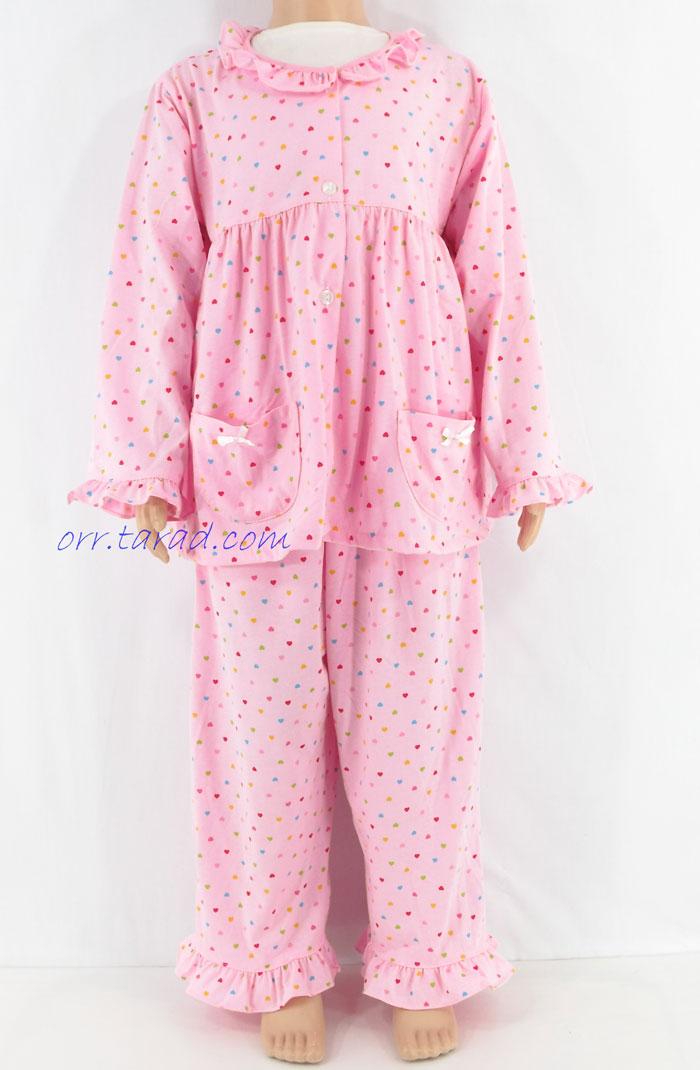 ชุดนอนเด็กหญิง ไซส์ 3-4 แขนยาว ขายาว ผ้ายืด (แบบคอระบาย กระดุมผ่าหน้า) คลืกดูรายละเอียดเพิ่มเติม