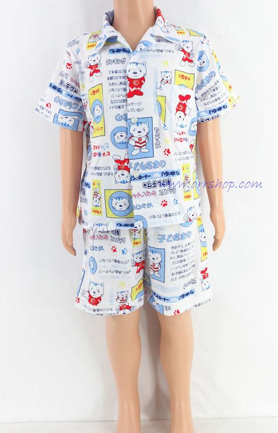 ชุดนอนเด็กชาย ไซส์ 2-3 แขนสั้น ขาสั้น  ผ้ายืด (แบบคอปก กระดุมผ่าหน้า) คลิกดูรายละเอียดเพิ่มเติม