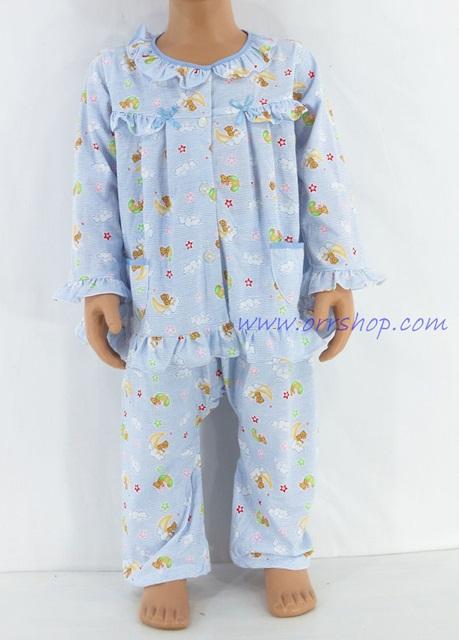 ชุดนอนเด็กหญิง ไซส์ 1-2 แขนยาว ขายาว  ผ้ายืด (แบบระบายอก กระดุมผ่าหน้า) คลิกดูรายละเอียดเพิ่มเติม