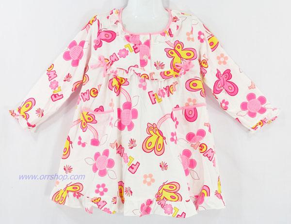 ชุดนอนเด็กหญิง ไซส์ 1-2 ชุดกระโปรงแขนยาว  ผ้ายืด (แบบโบว์อก กระดุม 2 เม็ด) คลิกดูรายละเอียดเพิ่ม