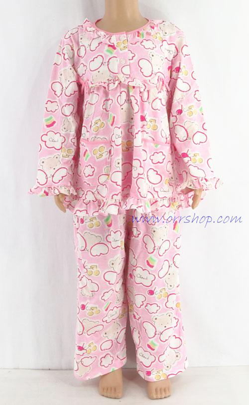 ชุดนอนเด็กหญิง ไซส์ 3-4 แขนยาว ขายาว ผ้ายืด (แบบโบว์อก กระดุม 2 เม็ด) คลิกดูรายละเอียดเพิ่มเติม
