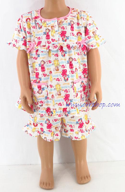 ชุดนอนเด็กหญิง ไซส์ 1-2 แขนสั้น ขาสั้น ผ้ายืด (แบบโบว์อก กระดุม 2 เม็ด) คลิกดูรายละเอียดเพิ่มเติม