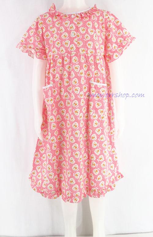 ชุดนอนเด็กหญิง ไซส์ 4-6 ผ้ายืด ชุดกระโปรงแขนสั้น (แบบคอระบาย กระดุม 2 เม็ด) คลิกดูรายละเอียดเพิ่ม