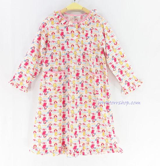 ชุดนอนเด็กหญิง ไซส์ 7-9 ชุดกระโปรงแขนยาว ผ้ายืด (แบบคอระบาย กระดุม3 เม็ด) คลิกดูรายละเอียดเพิ่มเติม