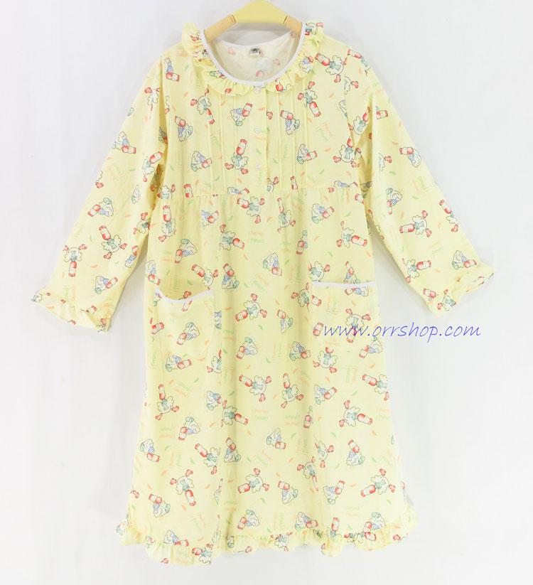 ชุดนอนเด็กหญิง ไซส์ 10-12 ชุดกระโปรงแขนยาว ผ้ายืด (แบบคอระบาย กระดุม 3 เม็ด) คลิกดูรายละเอียดเพิ่ม