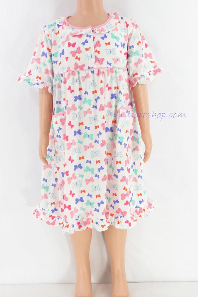 ชุดนอนเด็กหญิง ไซส์ 3-4  ผ้ายืด ชุดกระโปรง แขนสั้น (คอระบาย กระดุม 2 เม็ด) คลิกดูรายละเอียดเพิ่มเติม