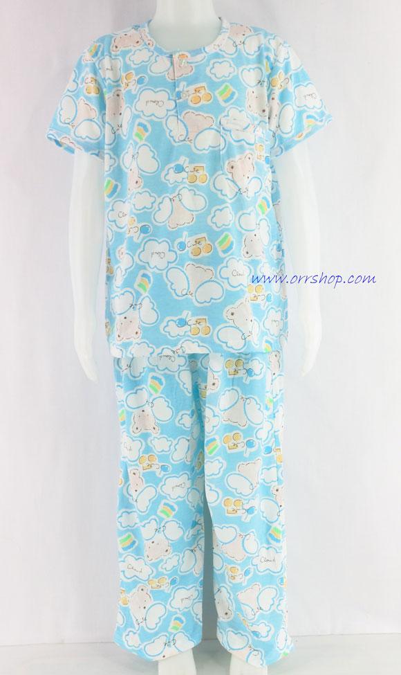 ชุดนอนเด็กชาย ไซส์ 4-6 แขนสั้น ขายาว ผ้ายืด (แบบคอกลม กระดุม 2 เม็ด) คลิกดูรายละเอียดเพิ่มเติม