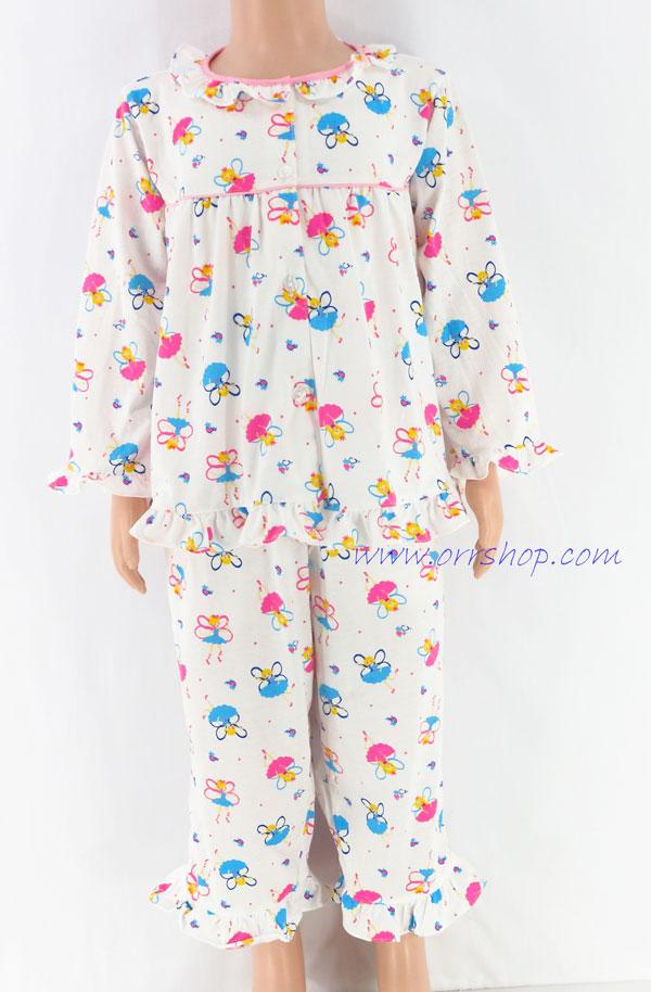ชุดนอนเด็กหญิง ไซส์ 2-3 แขนยาว ขายาว ผ้ายืด (แบบคอระบาย กระดุมผ่าหน้ากุ๊น) คลิกดูรายละเอียดเพิ่มเติม