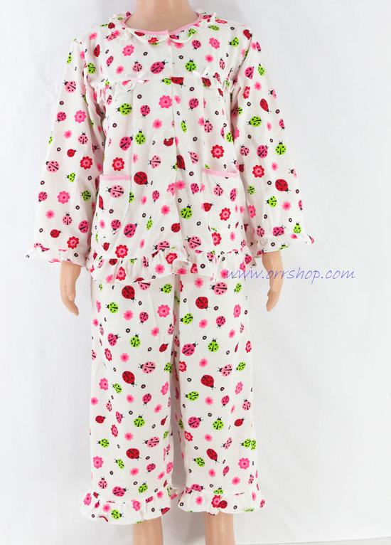 ชุดนอนเด็กหญิง ไซส์ 2-3 แขนยาว ขายาว ผ้ายืด (แบบระบายอก กระดุมผ่าหน้า) คลิกดูรายละเอียดเพิ่มเติม