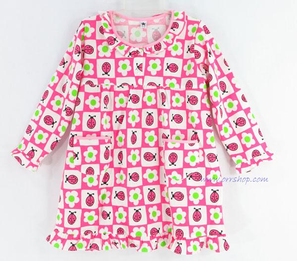 ชุดนอนเด็กหญิง ไซส์ 1-2 ชุดกระโปรงแขนยาว ผ้ายืด (แบบคอระบาย กระดุม 2 เม็ด) คลิกดูรายละเอียดเพิ่มเติม