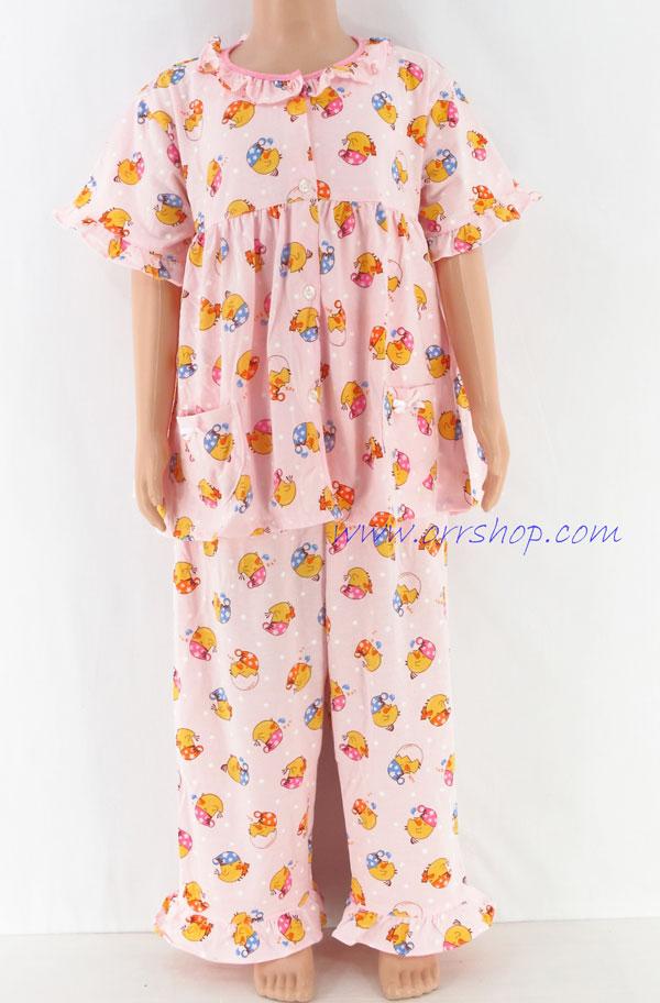 ชุดนอนเด็กหญิง ไซส์ 3-4 แขนสั้น ขายาว ผ้ายืด (แบบคอระบาย กระดุมผ่าหน้า) คลิกดูรายละเอียดเพิ่มเติม