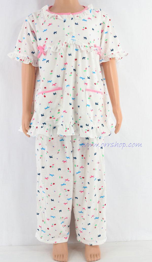 ชุดนอนเด็กหญิง ไซส์ 3-4 แขนสั้น ขายาว ผ้ายืด (แบบโบว์อก กระดุม 2 เม็ด) คลิกดูรายละเอียดเพิ่มเติม