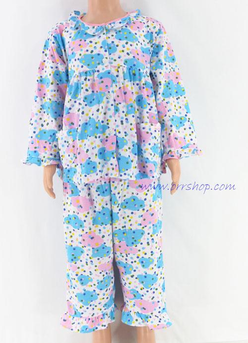 ชุดนอนเด็กหญิง ไซส์ 2-3 แขนยาว ขายาว ผ้ายืด (แบบคอระบาย กระดุมผ่าหน้า) คลิกดูรายละเอียดเพิ่มเติม