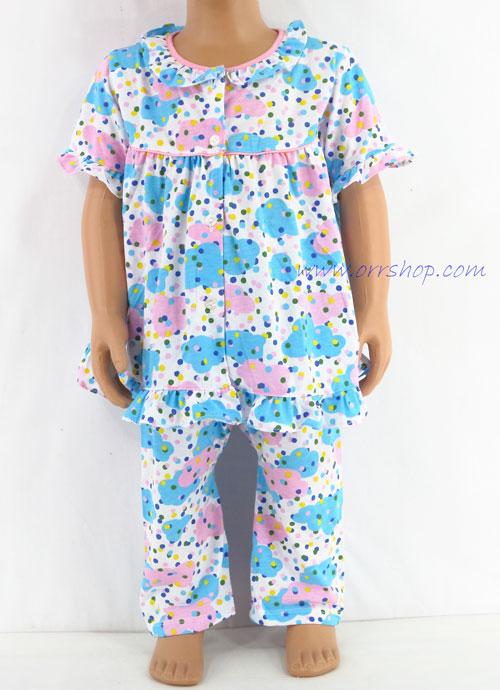 ชุดนอนเด็กหญิง ไซส์ 1-2 แขนสั้น ขายาว ผ้ายืด (แบบคอระบาย กระดุมผ่าหน้ากุ๊น) คลิกดูรายละเอียดเพิ่ม