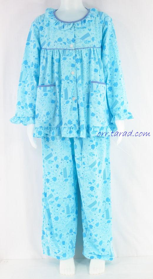 ชุดนอนเด็กหญิง ไซส์ 4-6 แขนยาว ขายาว ผ้ายืด (แบบคอระบายกุ๊น กระดุมผ่าหน้า) คลิกดูรายละเอียดเพิ่มเติม