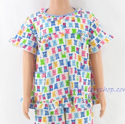 ชุดนอนเด็กหญิง ไซส์ 3-4 แขนสั้น ขายาว ผ้ายืด (แบบระบายอก กระดุมผ่าหน้า) คลิกดูรายละเอียดเพิ่มเติม