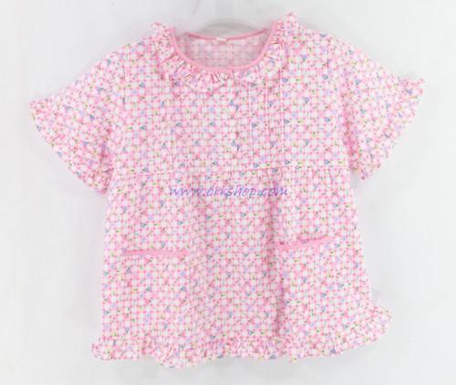 ชุดนอนเด็กหญิง ไซส์ 7-9 แขนสั้น ขายาว ผ้ายืด (แบบคอระบาย กระดุม 3 เม็ด)