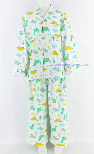 ชุดนอนเด็กชาย ไซส์ 4-6 แขนยาว ขายาว ผ้ายืด (แบบคอปก กระดุมผ่าหน้า)
