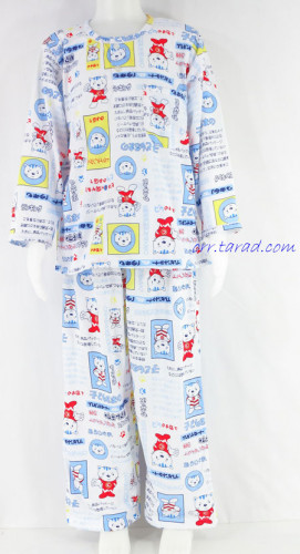 ชุดนอนเด็กชาย ไซส์ 4-6 แขนยาว ขายาว ผ้ายืด (แบบคอกลม กระดุม 2 เม็ด)