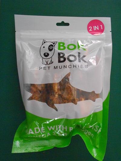 ขนมขบเคี้ยวน้องหมา-กระดูกปลาฉลาม+เนื้อปลาอบแห้ง 100