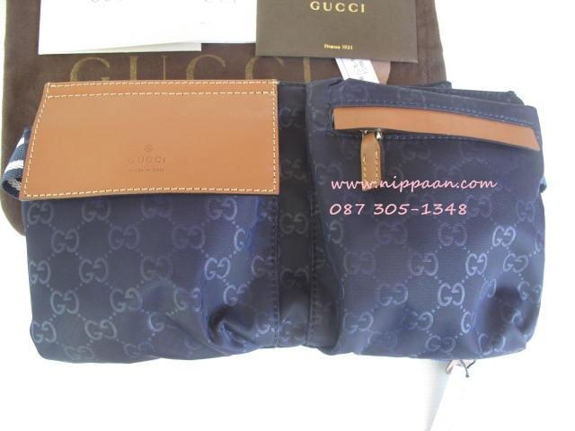 Gucci Belt Bag สีน้ำเงิน Blue guccissima leather Top Mirror Image 7 stars