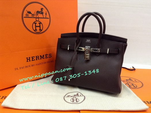 Hermes Birkins 25 in Chocolate Togo leather with Silver hardware Top mirror image 7 stars