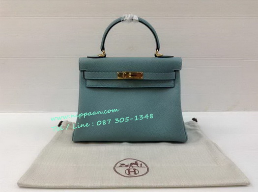 HERMES KELLY 28 cm Togo Leather Top Mirror image 7 stars in Blue Jeans อะไหล่ทอง