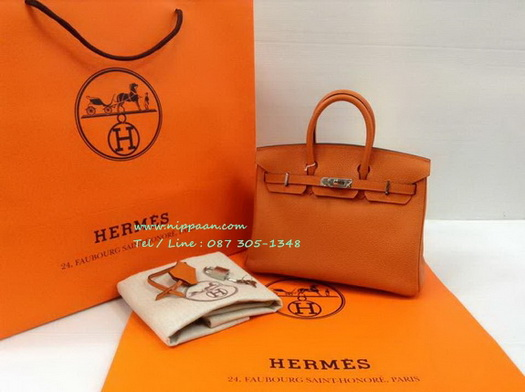 Hermes Birkins 25 in Orange Phw Togo leather with Silver hardware Top mirror image 7 stars