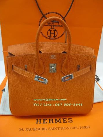 Hermes Birkins Orange Phw 30 cm in Togo leather Silver hardware Top mirror image 7 stars