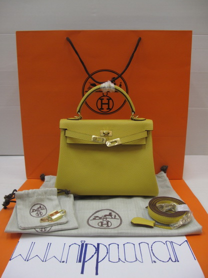 Hermes Kelly 25cm Gold Hardware  สีเหลือง Curry Top Mirror Image 7 stars