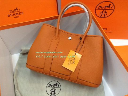 Hermes Garden Party 30cm Togo Leather  สีส้ม Potiron Top Mirror Image 7 stars