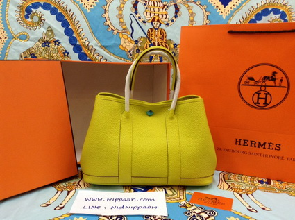 Hermes Garden Party 30cm Clemence Leather สีเหลือง Curry Top Mirror Image 7 stars
