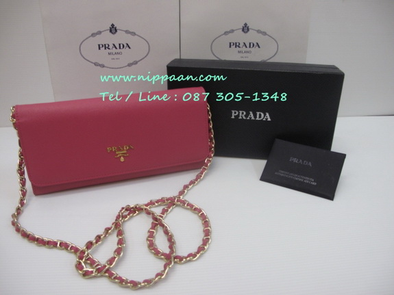 Prada Saffiano Wallet on Chain สีชมพู Pink Peonia Mirrror Image 7 Stars