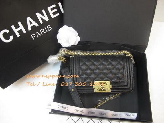 Chanel Boy flap bag Cavier Top Mirror Image 7 stars สีดำอะไหล่ทอง 8 นิ้ว