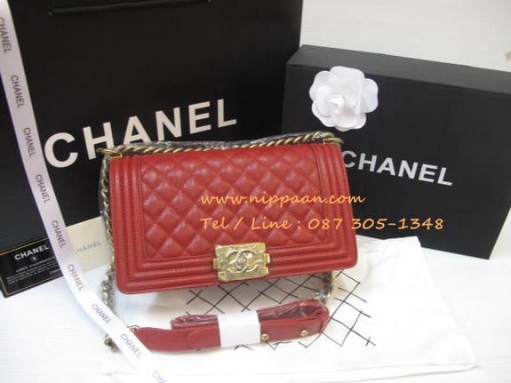 Chanel Boy flap bag Cavier Top Mirror Image 7 stars สีแดงอะไหล่ทอง 9.8 นิ้ว