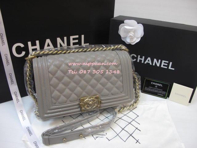 Chanel Boy flap bag Cavier Top Mirror Image 7 stars สีเทาอ่อนอะไหล่ทอง 9.8 นิ้ว