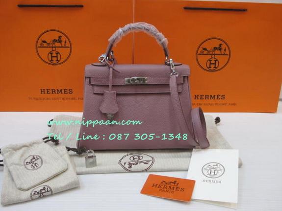 HERMES Glycine KELLY 25 cm Togo Leather in Lilac Purple สีม่วงอ่อนอะไหล่เงิน