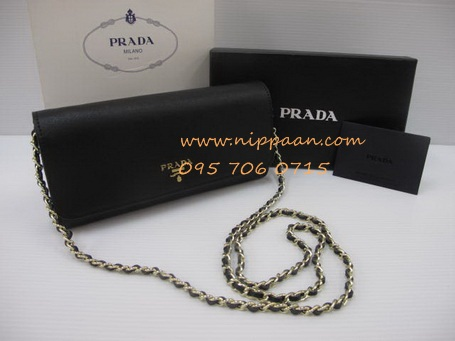 Prada Saffiano Wallet on Chain Mirrror Image 7 Stars สี္ดำ