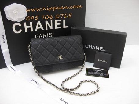 Chanel Wallet on Chain or WOC Cavier Leather GHW Top mirror image สีดำหนังคาร์เวียร์โซ่ทองค่ะ