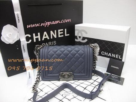 Chanel Boy flap bag Lamb skin  SHW Top Mirror Image 7 stars สีกรมอะไหล่เงิน 8 นิ้ว