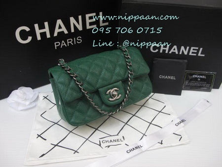 New Chanel Classic mini 8 นิ้ว Green caviar Top Mirror Image 7 stars อะไหล่เงิน