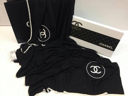 ผ้าพันคอ Chanel classic scarf Top Mirror Image สีดำ