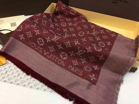 ผ้าพันคอ Louis Vuitton Monogram Rainbow Shawl Top Mirror Image สีแดงเข้ม