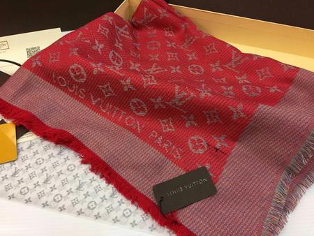 ผ้าพันคอ Louis Vuitton Monogram Rainbow Shawl Top Mirror Image สีแดง